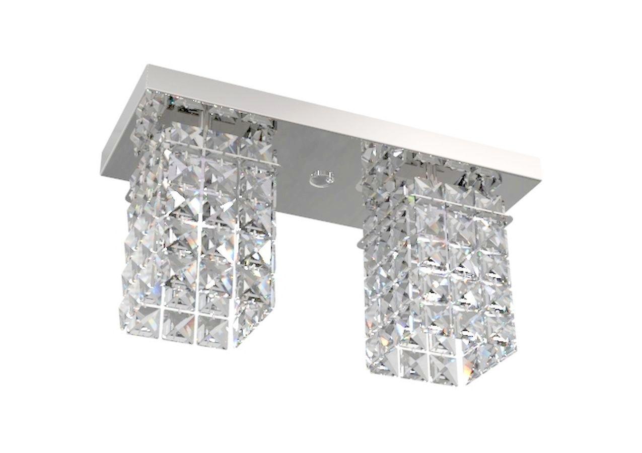 Plafon de Cristal Legitimo Retangular 30cm Mesa Balcão Bancada C/ Lâmpadas Led