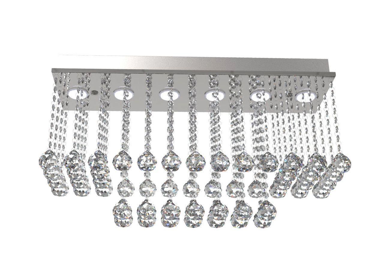 Plafon de Cristal Legitimo Retangular L62X19cm A30cm Soq 6XGU10
