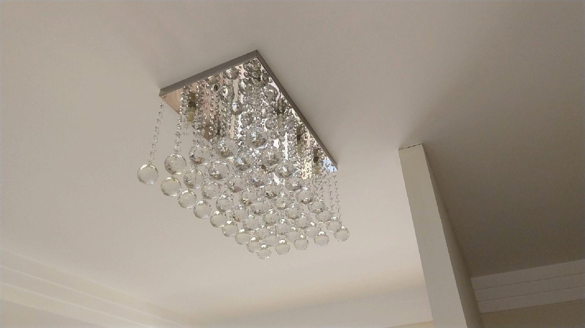 Plafon de Cristal Legitimo Sala Estar Jantar Quarto Hall