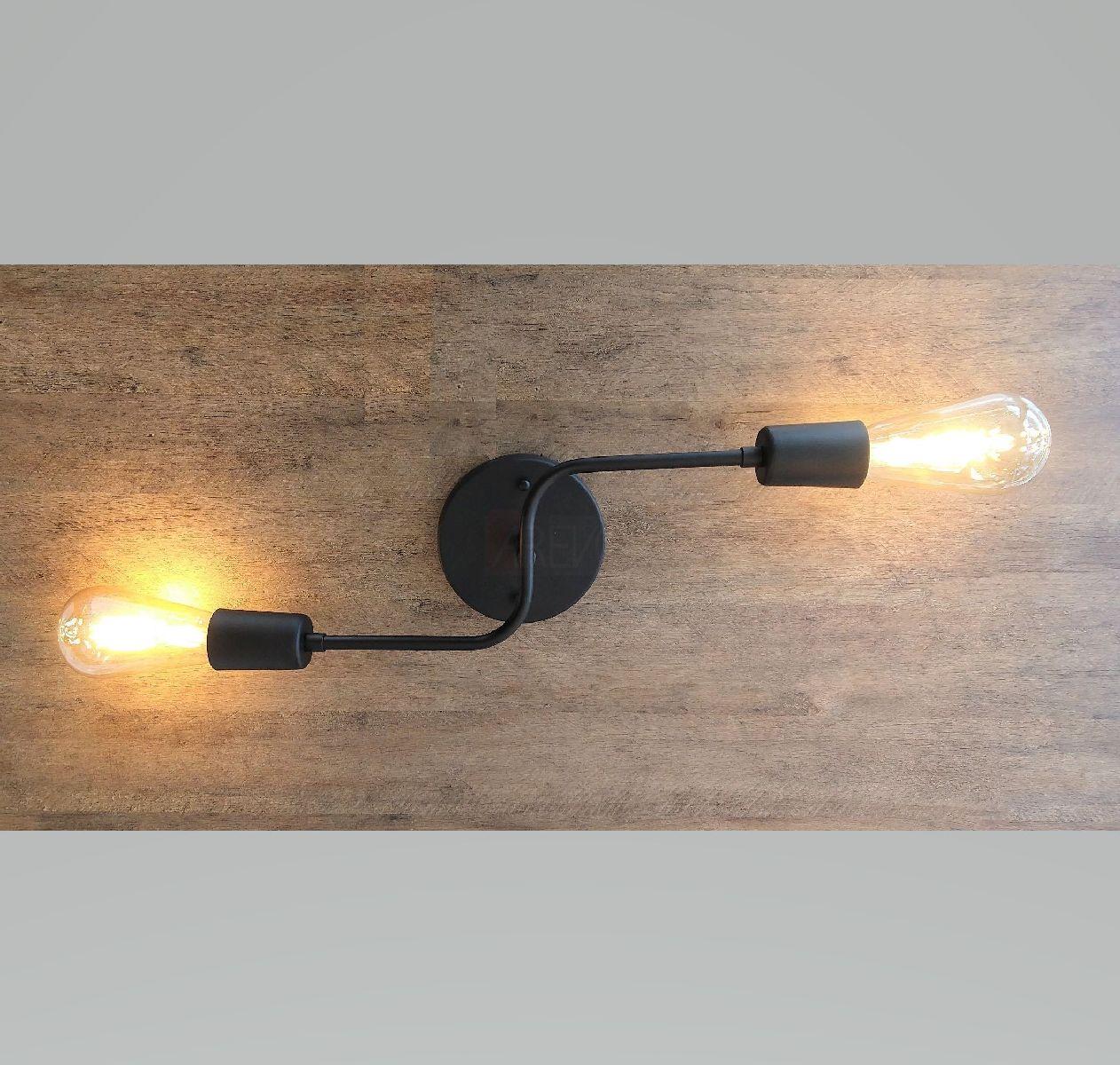 Plafon Industrial Moderno 2 Lâmp Preto Para Cozinha Gourmet Quarto Corredor Caisma