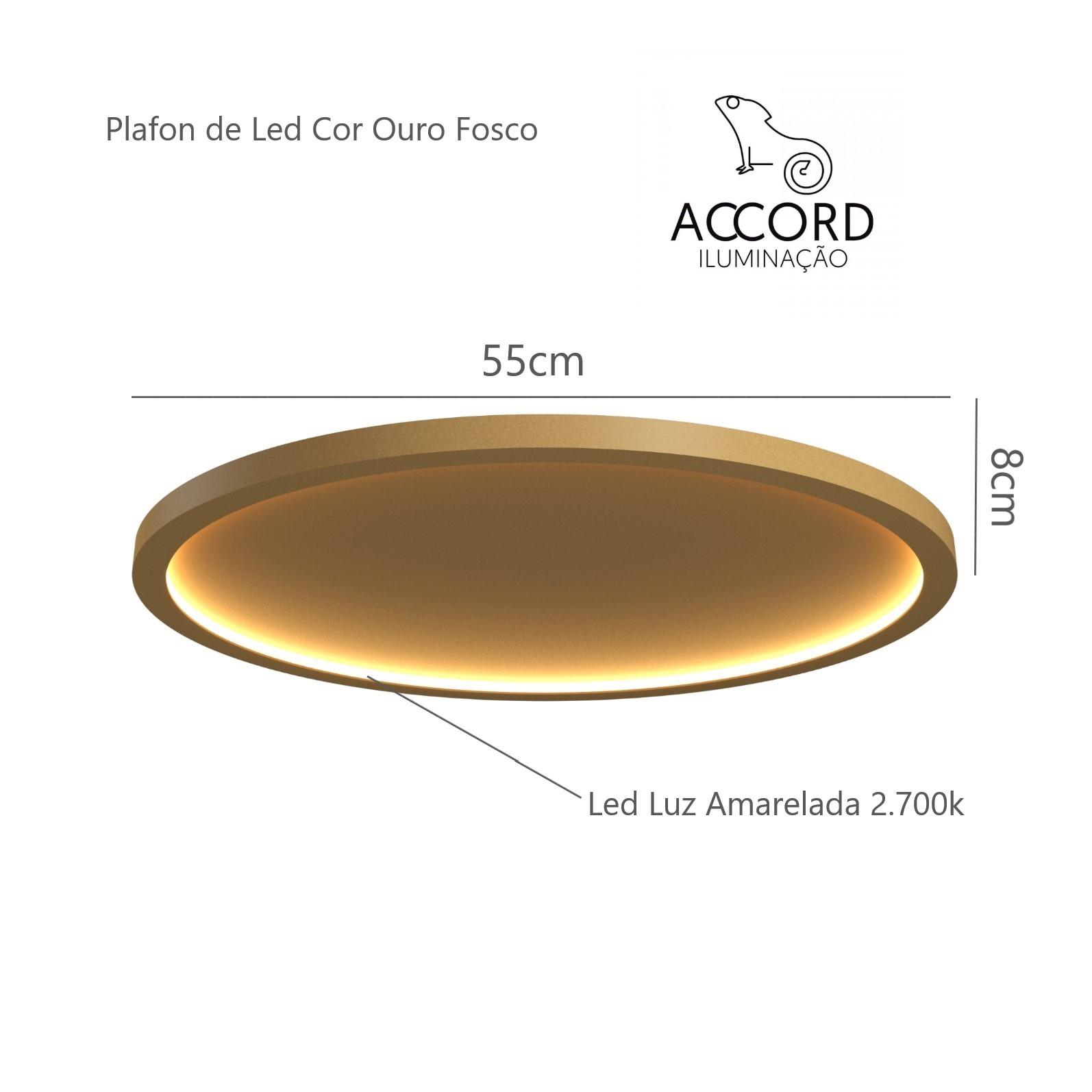 Plafon Led Dourado Naiá 55cm Sala de Estar Tv Quarto Hall Accord