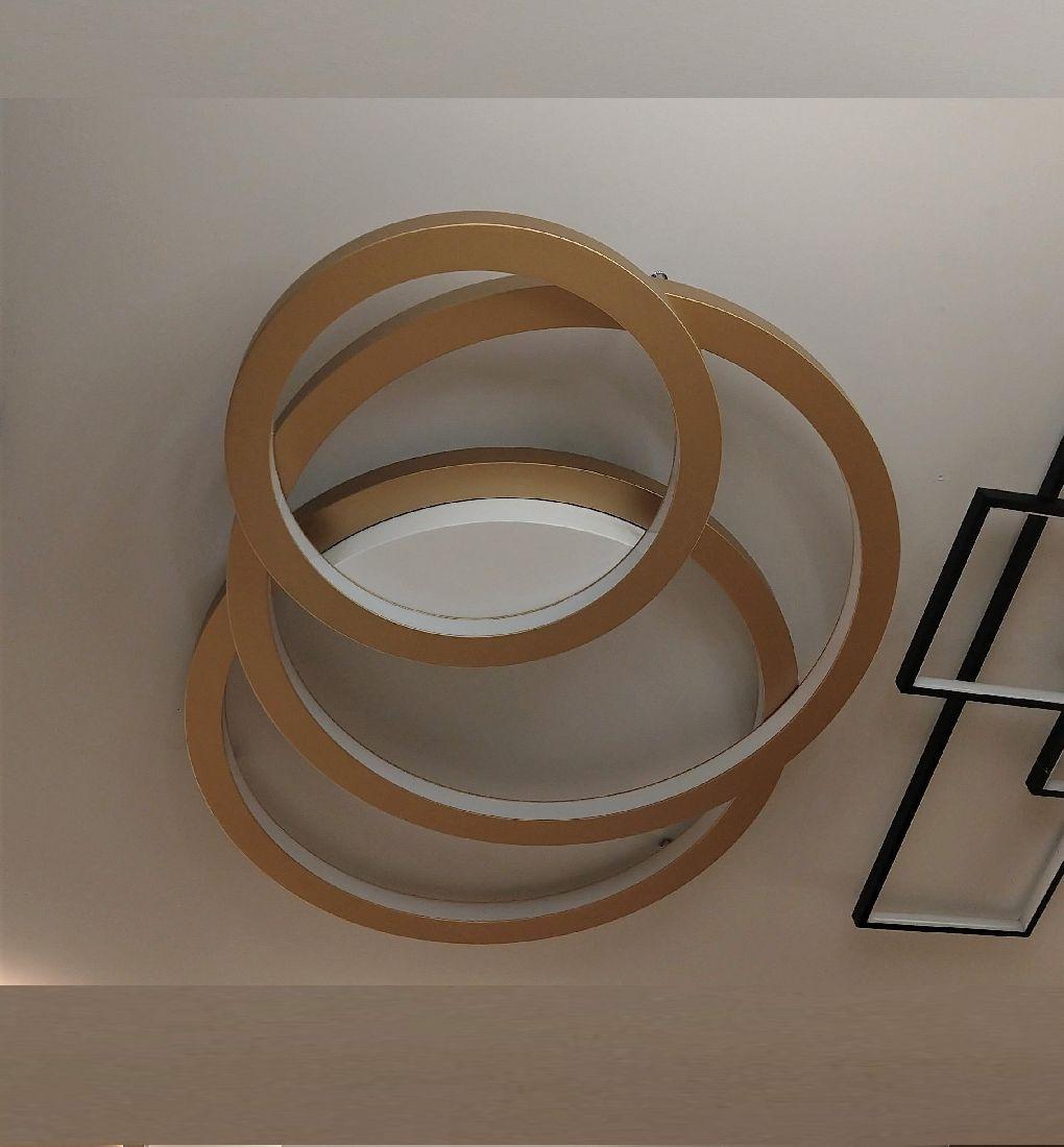 Plafon Led Moderno 86cm com 3 Aros Sala de Estar Quarto Accord