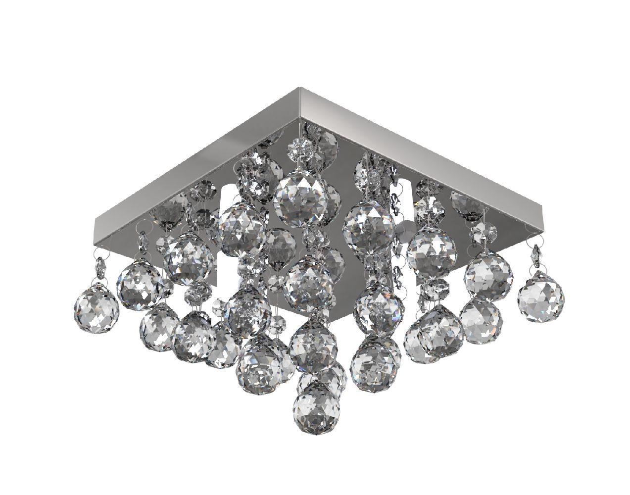 Plafon Lustre de Cristal Legitimo 21cm Quarto Sala Hall Entrada Sacada Corredor Decoração C/ Lâmpadas Led