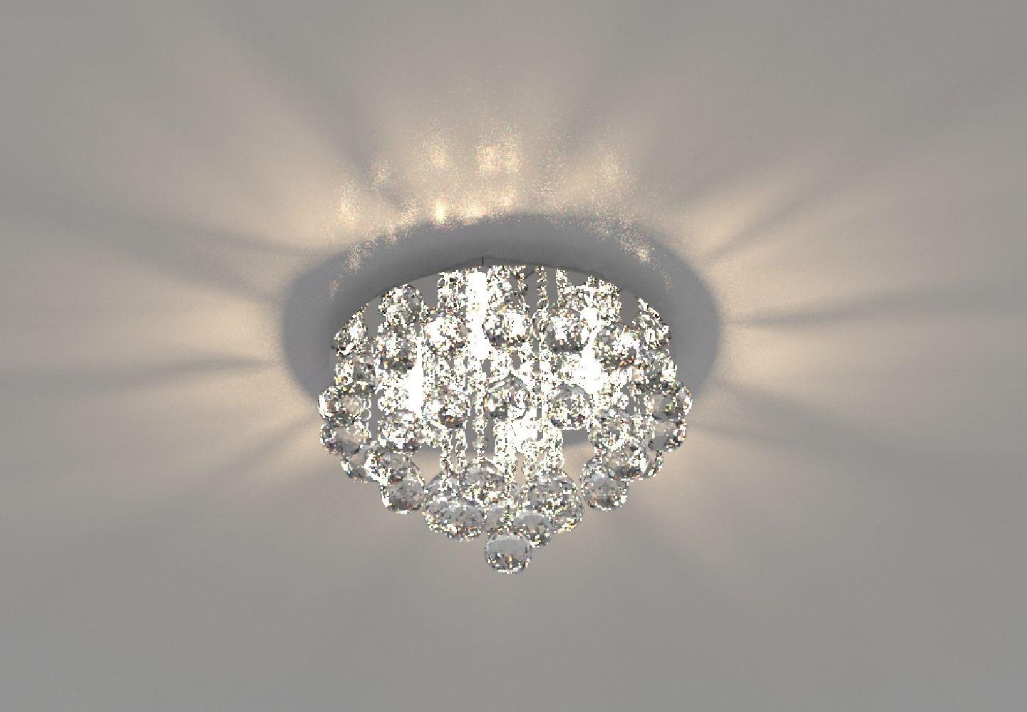 Plafon Lustre de Cristal Legitimo 30cm Quarto Sala Estar Living Hall C/ Lâmpadas Led