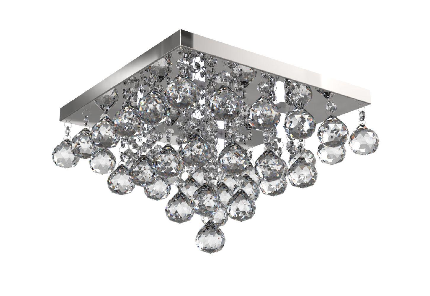 Plafon Lustre de Cristal Legitimo 32cm Quarto Sala Estar Living Hall Entrada Loft C/ Lâmpadas Led