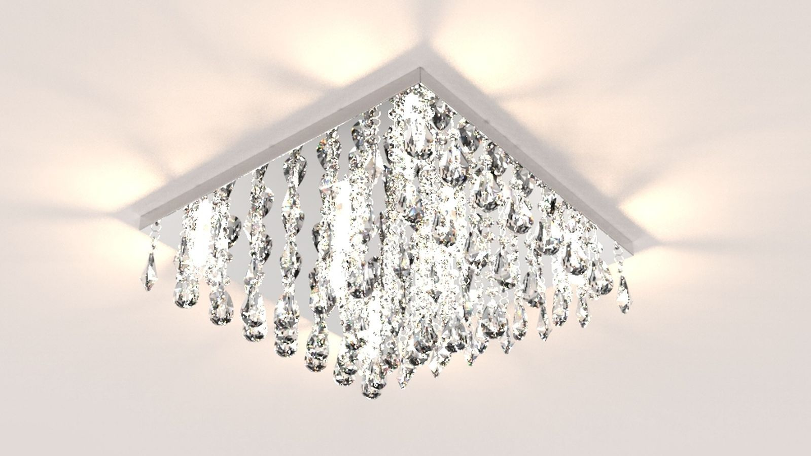 Plafon Lustre de Cristal Legitimo 42cm Sala de estar Mesa Jantar Quarto Living Ático C/ Lâmpada Led