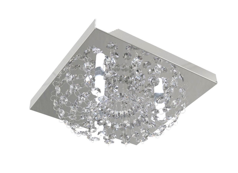 Plafon Lustre de Cristal Legitimo Quadrado 23cm Lavabo Corredor Hall Sala Loft C/ Lâmpadas Led
