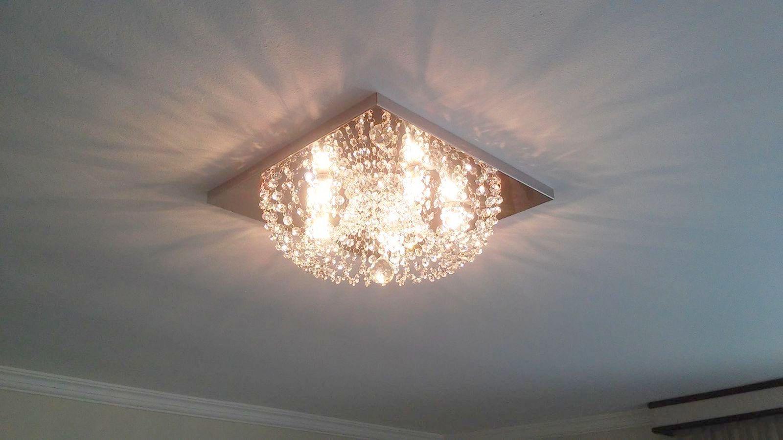 Plafon Lustre de Cristal Legitimo Quadrado 30cm Sala Quarto Corredor Living Loft C/ Lâmpadas Led