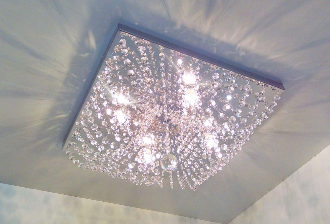 Plafon Lustre de Cristal Legitimo Quadrado 42cm Sala Quarto Corredor Living C/ Lâmpadas Led