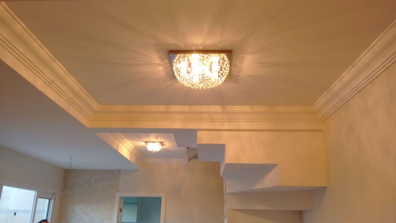Plafon Lustre de Cristal Legitimo Quadrado 42cm Sala Quarto Corredor Living Loft C/ Lâmpadas Led