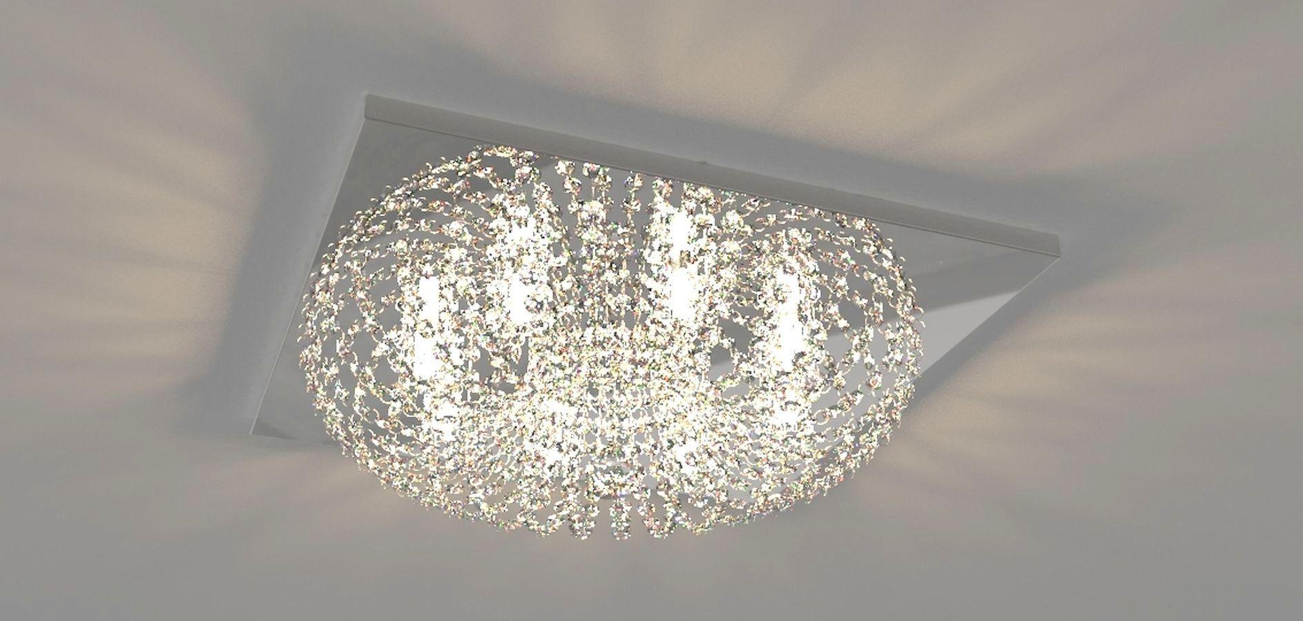Plafon Lustre de Cristal Legitimo Quadrado 50cm Sala Quarto Corredor Living Loft C/ Lâmpadas Led