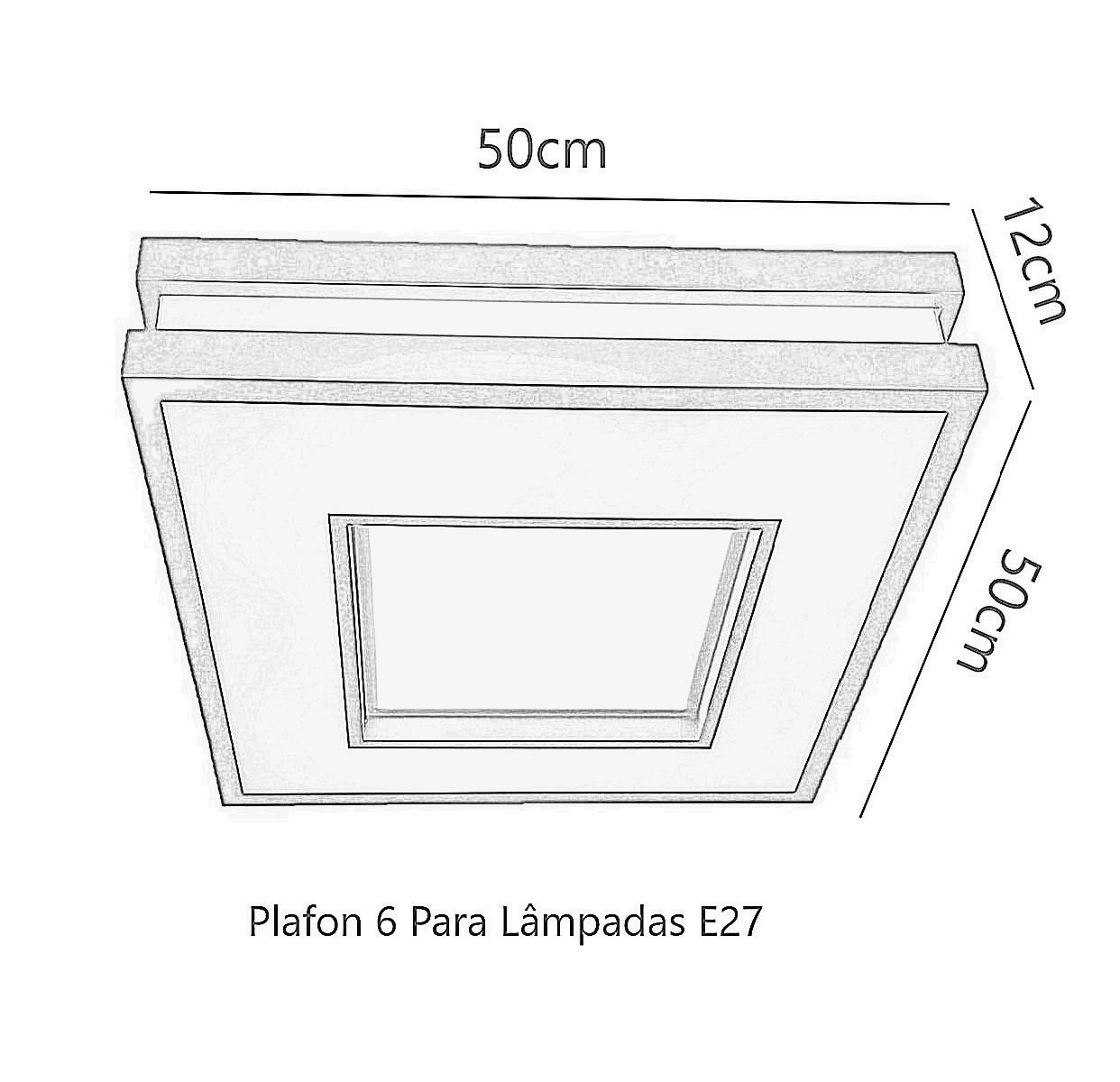Plafon Moderno Decorativo 50cm Branco Para Sala Mesa Cozinha Quarto Escritório