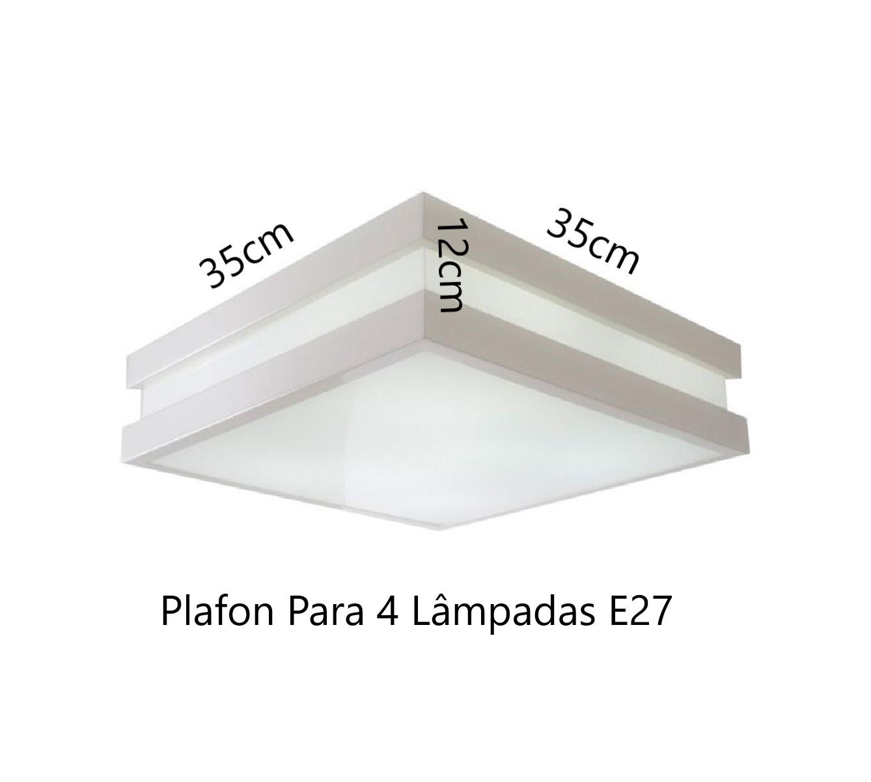 Plafon Moderno Modular 35cm Branco Para Sala Mesa Cozinha Quarto Escritório