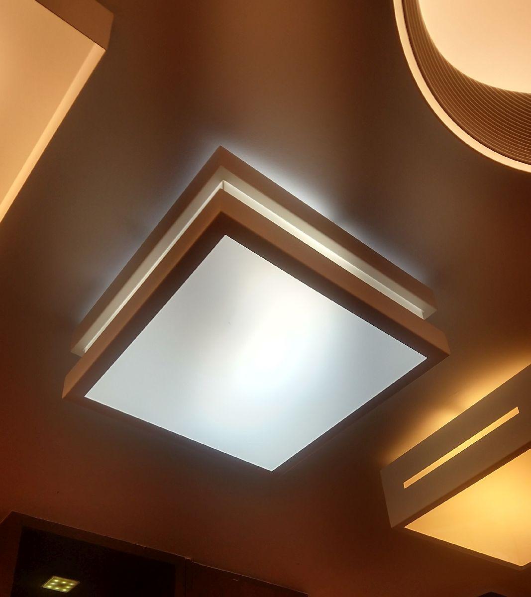 Plafon Moderno Modular 50x50cm Branco Para Sala Mesa Cozinha Quarto Escritório