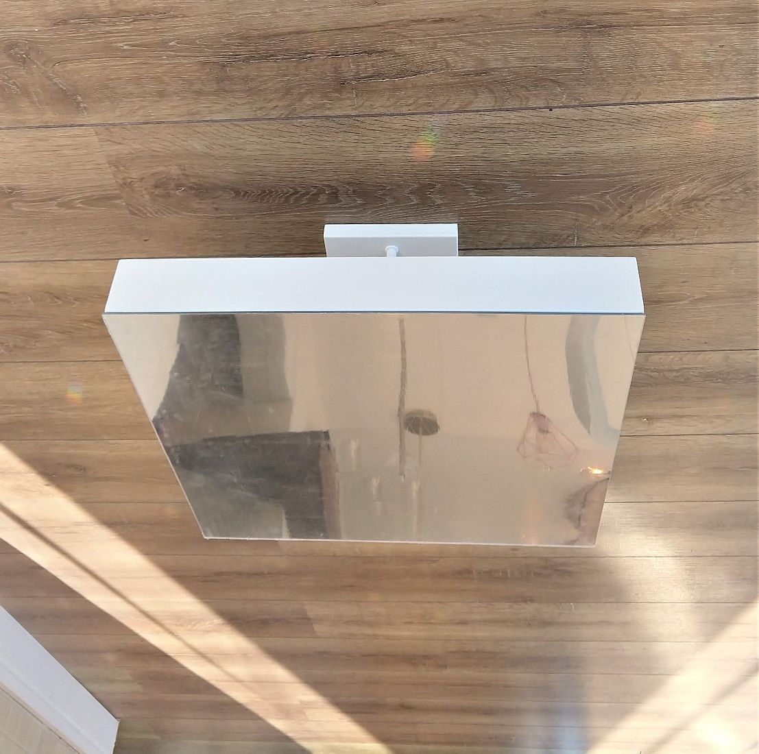 Plafon Rebatedor Quadrado Luz Indireta Espelhado 40cm Quarto Sala de Estar Living