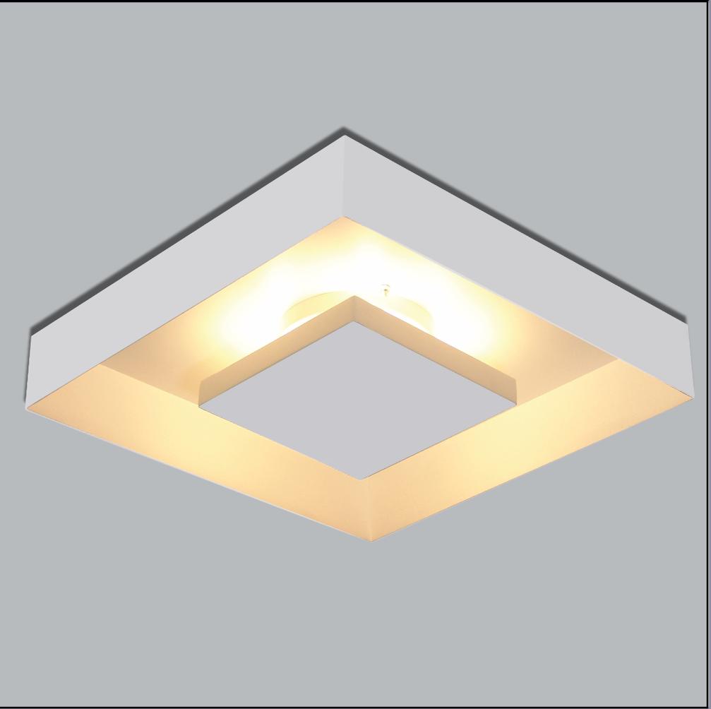 Plafon Rebatedor de Sobrepor Quadrado 45 cm Branco Quarto Sala de Estar Living
