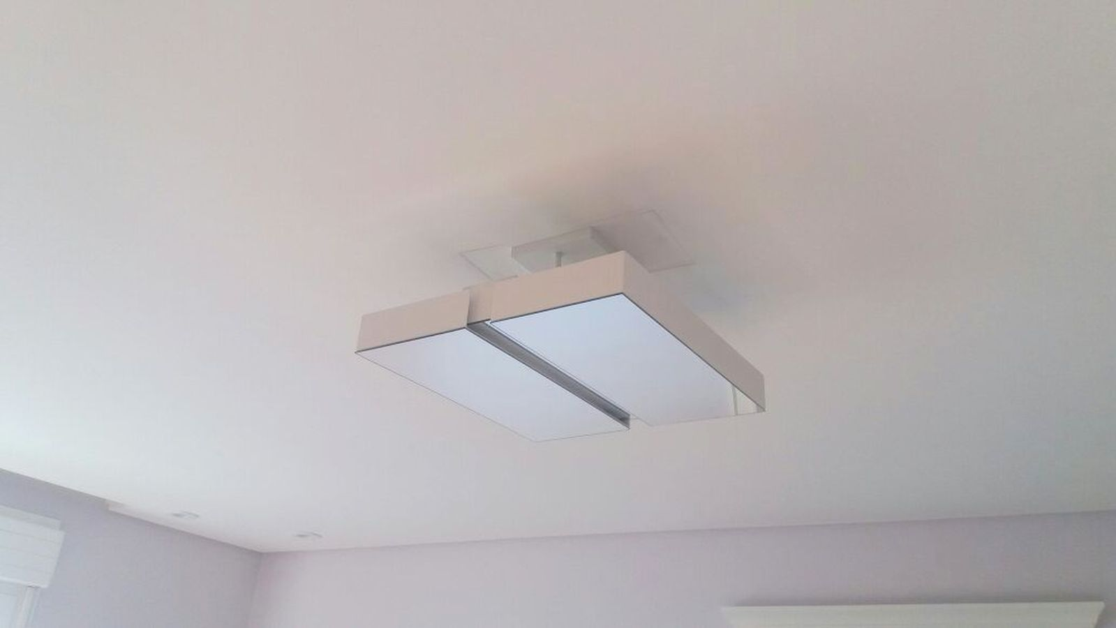 Plafon Rebatedor Vazado Quadrado Espelhado 40 cm Branco Quarto Sala de Estar Living Sala de Tv