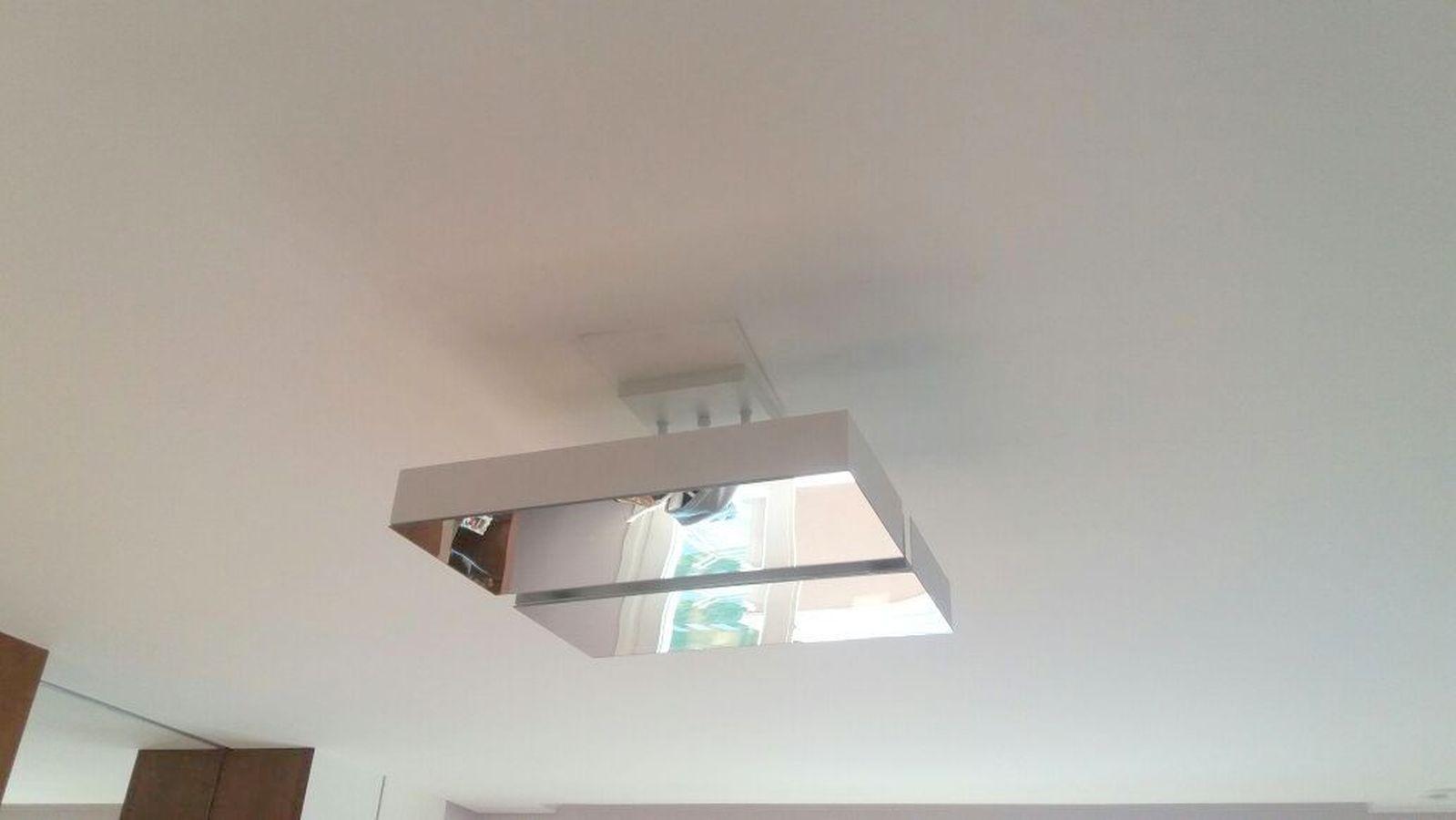 Plafon Rebatedor Vazado Quadrado Espelhado 50 cm Branco Quarto Sala de Estar Living