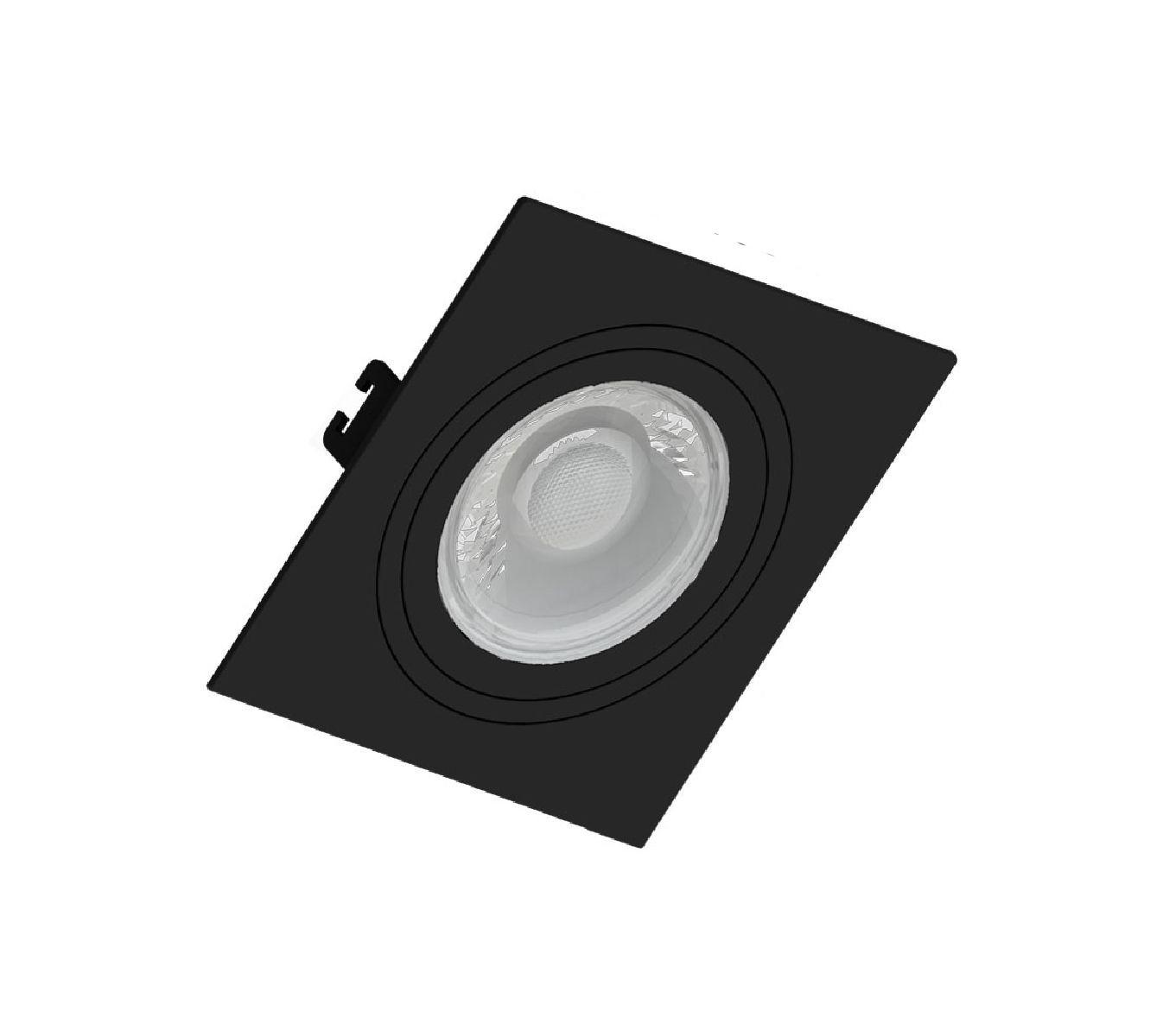 Spot de Embutir Dicroica Quadrado Orientável MR16 Face Plana Preto