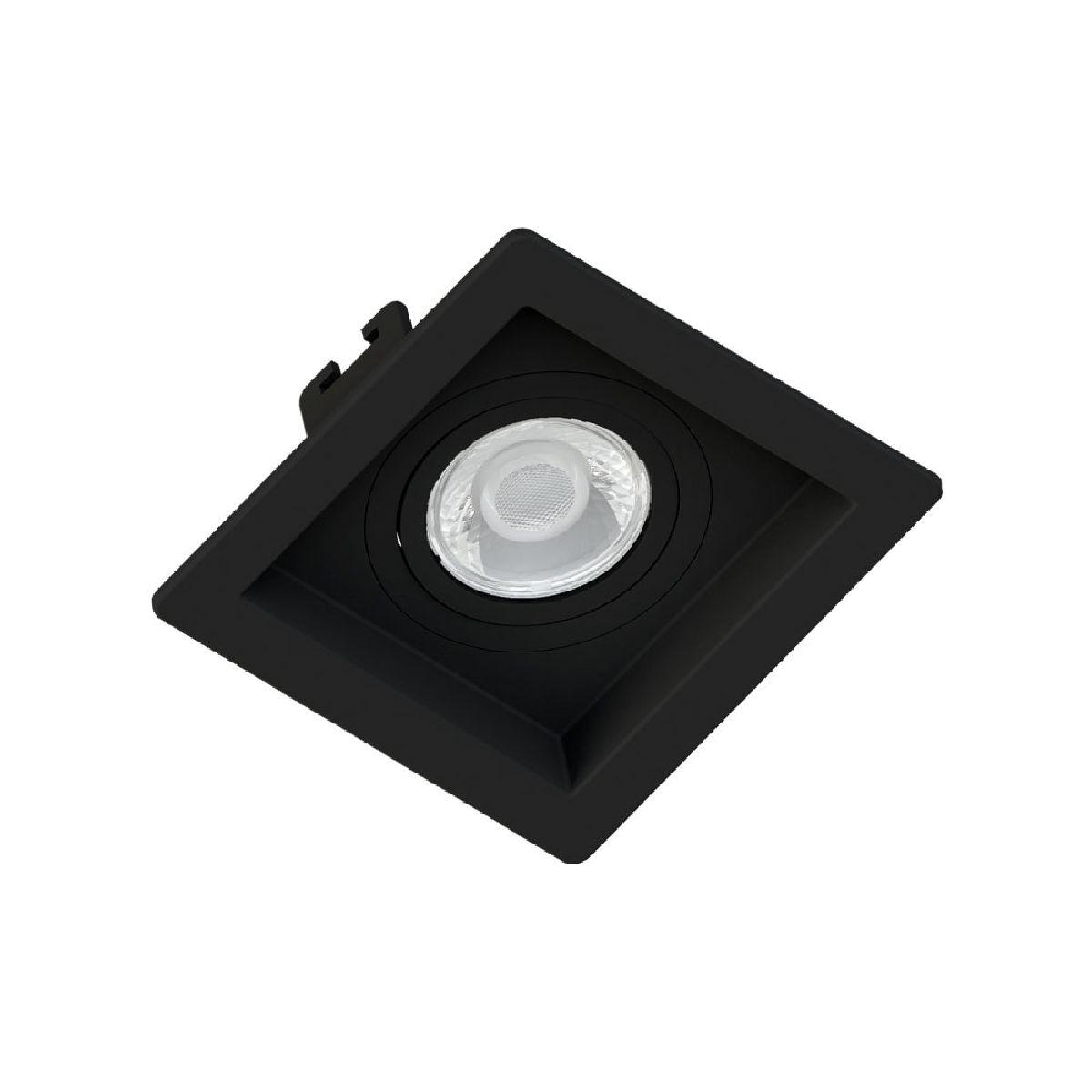 Spot de Embutir Mini Dicroica Quadrado Orientável MR11 Face Recuada Preto