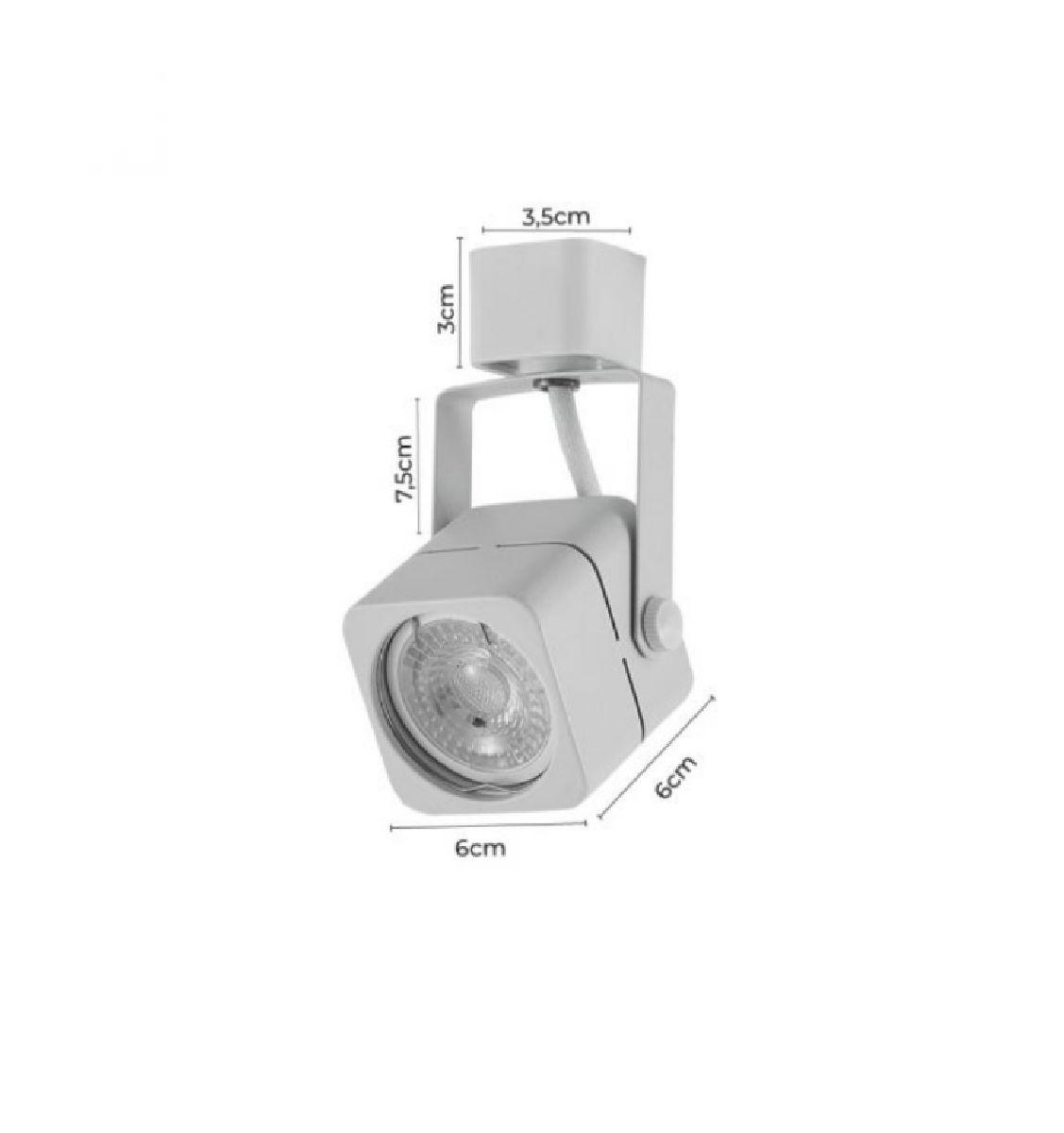 Spot Para Trilho Eletrificado Quadrado Dicroica MR16 / GU10 Nordecor Branco P/ Sala Quarto Cozinha Quadro Bivolt