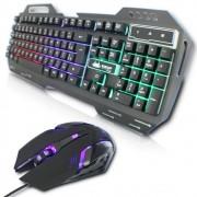 Kit Gamer Teclado Mouse Luminoso Rgb Led Metal Semi Mecanico
