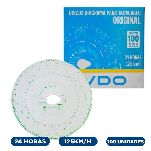 Disco Diagrama Tacógrafo Diario 125Km 24 Horas - Vdo