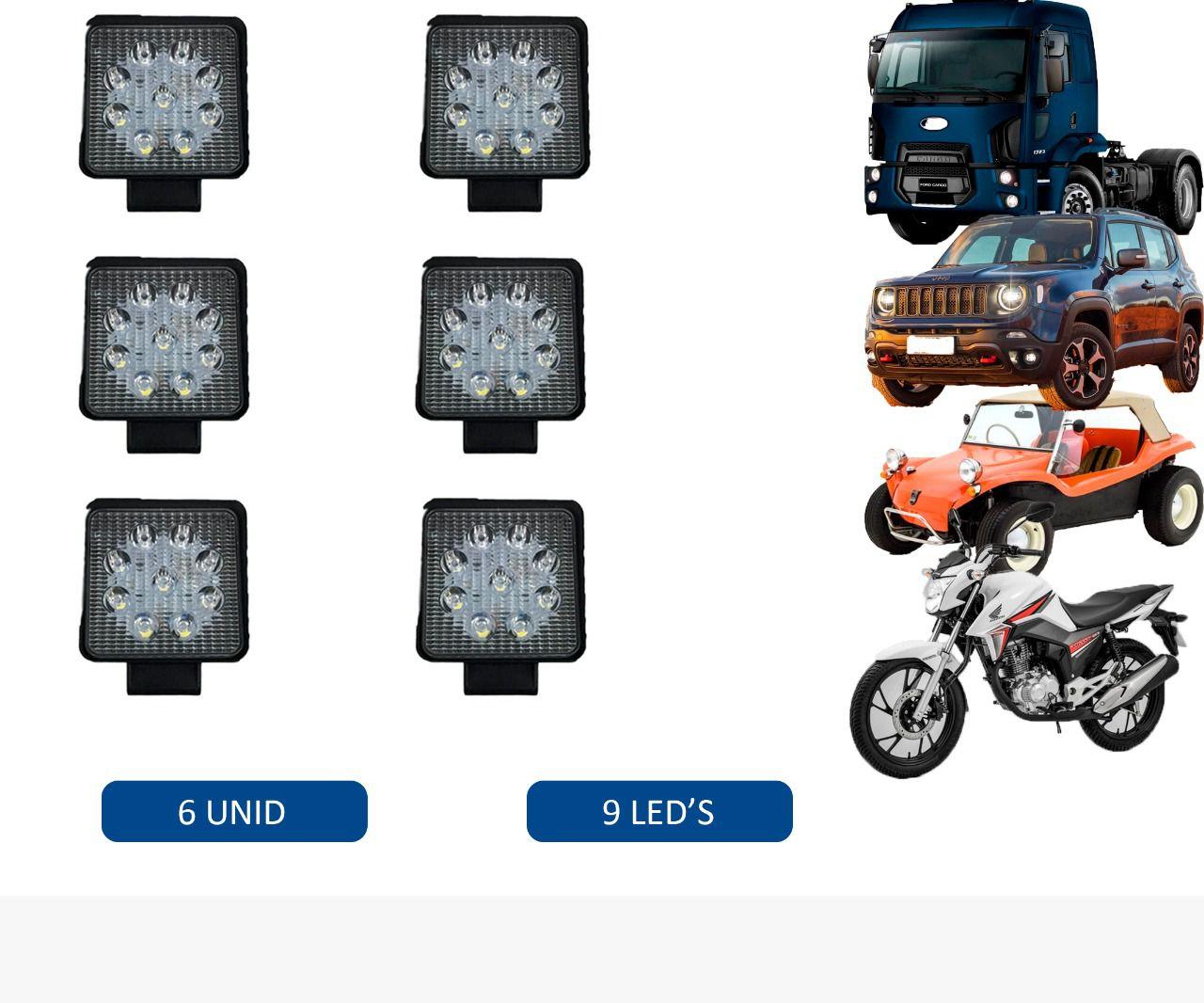 Kit Farol Milha Quadrado 6 Unidades 12V E 24V 27W Universal