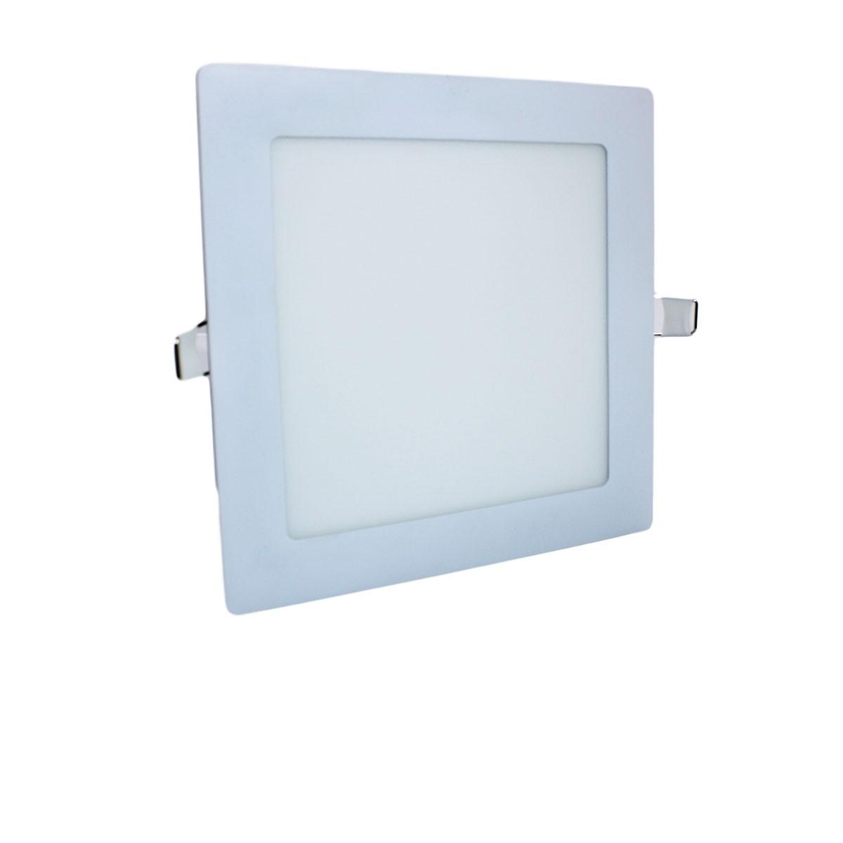Luminária Paflon Embutir 12w Quadrado Slim Branco Frio
