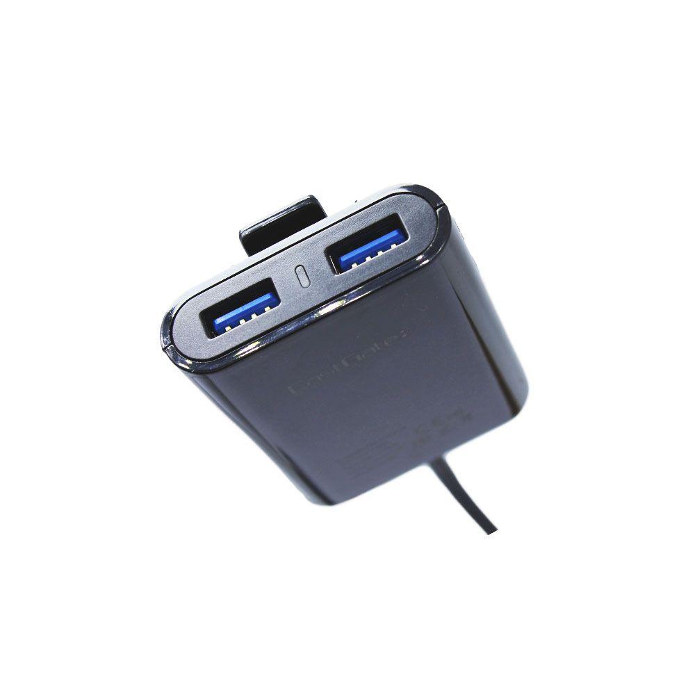 Suporte Carregador Celular Cliente 4 Usb Cabo 1.8m Waze Gps