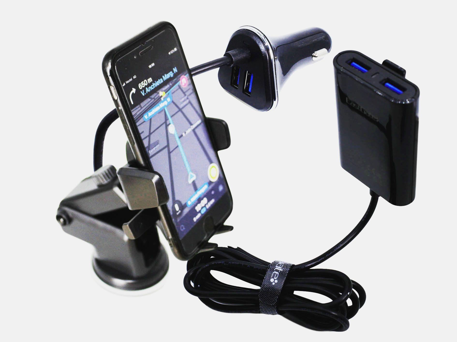 Suporte Celular Gps + Carregador 4 saídas USB Cabo 1.8Metros