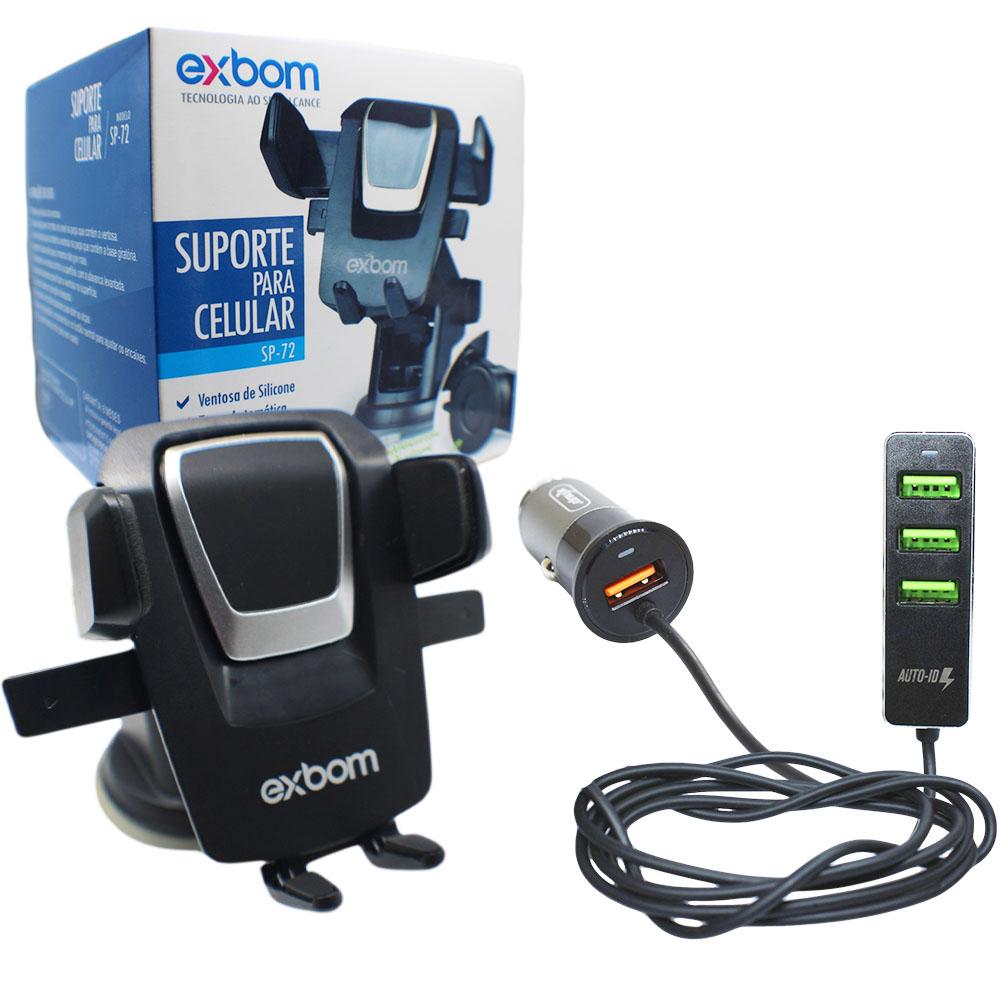 Suporte E Carregador Usb 4 Portas Celular Gps Aplicativos