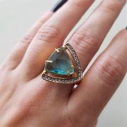 Anel com Cristal e Microzircônias 3095 Azul