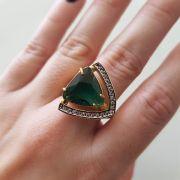 Anel com Cristal e Microzircônias 3095 Verde