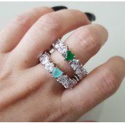 Anel de Corações com Coração Verde 4179