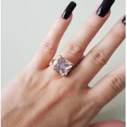 Anel Zircônia Quadrada Cristal 2854