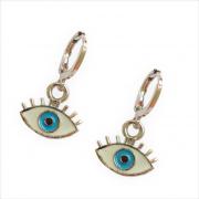 Brinco Mini Argola Olho Grego Esmaltado com Cílios 5058