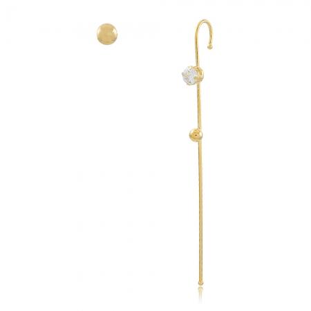 Brinco tipo Grampo Zircônia e Bolinha Dourada 5170