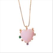 Colar Coração de Pedra com Zircônias Coloridas 5094