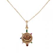 Colar Medalha Olho Grego Com Zircônia Colorida 5285