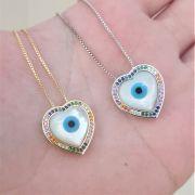 Colar Olho Grego Coração Colorido 4364