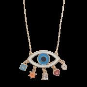 Colar Olho Grego Esmaltado com Pingentes Coloridos 5023