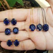 Conjunto Colar e Brincos Oval Fusion Azul 4037