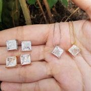 Conjunto Colar e Brincos Quadrado Fusion Cristal 4042