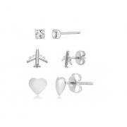 Kit 03 Brincos Avião,Coração e Ponto de Luz 5150