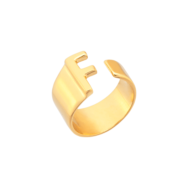 Anel Personalizado Regulável Com Letra Lisa Banhado a Ouro 18 k.