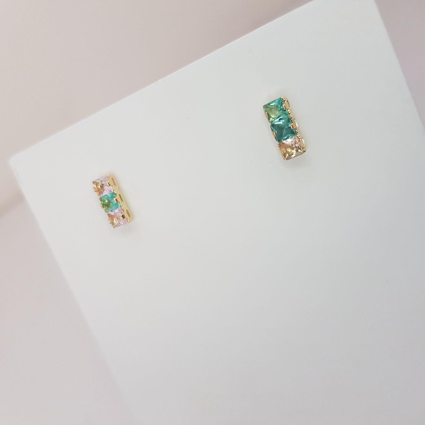 Brinco 03 Pedras Quadradas Coloridas 4911