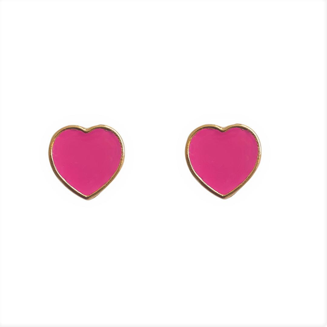 Brinco Coração Esmaltado Pink 5060