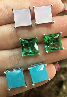 Brinco Cristal Quadrado 3702