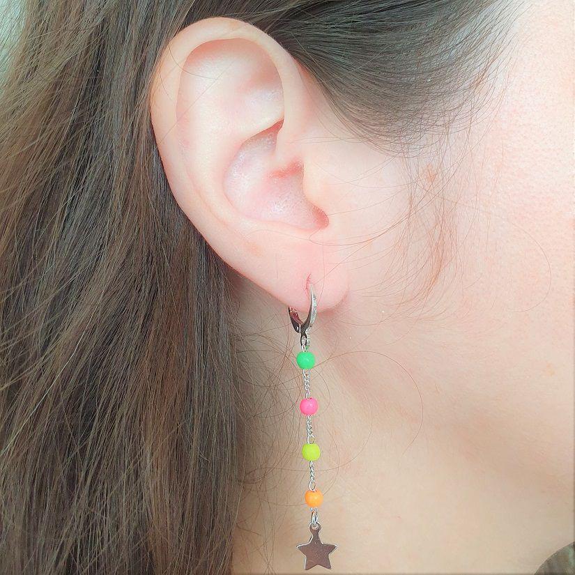 Brinco Mini Argola Colorida com Estrela 4639
